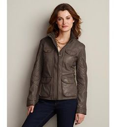 Eddie Bauer Leather Field Jacket. Womens' cut, no belt, unknown leather. Caramel and Brown. $349
