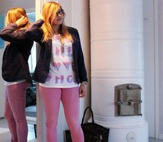 Navy and pink office look from February 2013