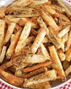 Perfectly Cooked Oven Baked Frend Fries.  Ingredients 6 Idaho potatoes, peeled 1/4 cup extra-virgin olive oil 1 Tbs. dried Italian herbs 2 cups grated Romano cheese 1/4 cup parsley leaves, finely chopped Kosher salt and freshly ground black pepper Steps Preheat oven to 400 F. Slice your potatoes into sticks that are about 1