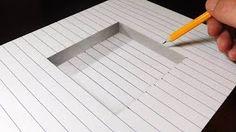 How to draw a step in line paper - easy trick art karakalem çizimler, ta 3d Pencil Drawings, 3d Art Drawing, Paper Drawing, Easy Drawings, Pencil Art, Drawing Tips, Illusion Kunst, Illusion Drawings, Illusion Art