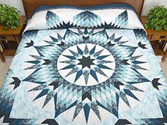 King Blue Navy Teal Mariner's Star Quilt.  Such a great looking quilt