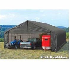 ShelterLogic Peak Style 30ft.W Garage/Storage Shelter – Gray, 20ft.L x 30ft.W x 20ft.H, 2 3/8in. Frame, Model# 86062