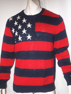 Tommy Hilfiger stars and striped cotton men's sweater NWT mspr $98.00 NEW onSALE #TommyHilfiger #Crewneck
