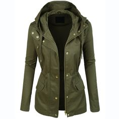 Womens Military Anorak Jacket With Hood Lightweight Women Jacket 2016 Fashion Casual Ladies Jackets Zipper Up