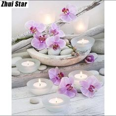 DIY 5D Diamond Painting Candle White Stone Flower Wall Decor Cross Stitch Z
