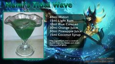 """Nami's Tidal Wave: """"Sometimes you're the catch. Sometimes you're the bait. Pineapple Juice, Orange Juice, Bar Drinks, Beverages, Coconut Syrup, Blue Curacao, Parfait, Martini, Rum"""