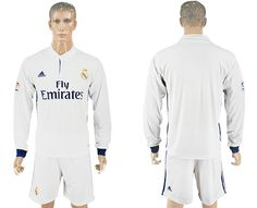 Real Madrid Blank White Home Long Sleeves Soccer Club Jersey White Houses a2bb444126cf7