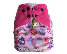 Dotty Bots Mixers - One size Pocket Nappy, Bamboo Boosters, Poppers, It's a Hoot Pink
