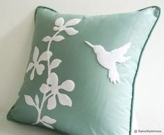 HAPPY EASTER PRESENT FOR YOU   Be enchanted with this stunning decorative pillow cover : ) Perfect as Easter gift too! *Last piece in this color! Flowers and humming bird are handmade of Recycled Felt in white. Hand sewn (Not glue) stitch by stitch with time and love, on the front panel of cushion only. Back panel is just Mint color. .  **Listing for Cushion Cover   *Do not bleach. Do not tumble dry or twist. *Do not soak . Handmade in smoke-free home.