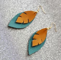 Blue and Orange Earrings  Leather Earrings  Leather Feather