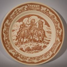 "Pioneer Trails Pattern - Wallace China - 9"" Plate - Brown on Tan #WallaceChina"