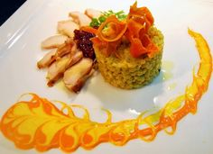 Barley Salad with Chicken Breast in Yellow and Red Pepper Sauce and Caramelized Onions