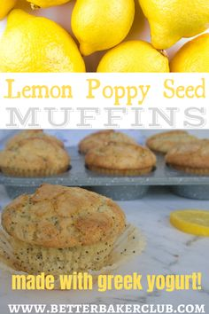 These easy muffins are moist, fluffy, and full of fresh lemon zest and crunchy poppy seeds. I add Greek yogurt and apple sauce to keep them soft longer! I'll even show you how to make them with bakery-style big crunchy tops. You can bake these as mini muffins for easy snacking or jumbo muffins for a hearty breakfast treat. Lemon Dessert Recipes, Lemon Recipes, Sweet Recipes, Desserts, Jumbo Muffins, Lemon Poppyseed Muffins, Apple Sauce, Healthy Muffins, Easy Snacks