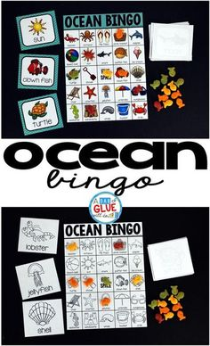 Ocean BINGO is a great way to make teaching (or reviewing) the summer season fun! It is also a perfect game for the end of year or classroom parties. Ocean BINGO can be done in a whole group or placed in a center for a small group of students to complete. Ocean Games, Ocean Activities, End Of Year Activities, Kids Learning Activities, Preschool Lessons, Summer Activities, Teaching Ideas, Preschool Ideas, Group Activities