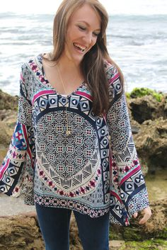 Dream Chaser Printed Bell Sleeve Top