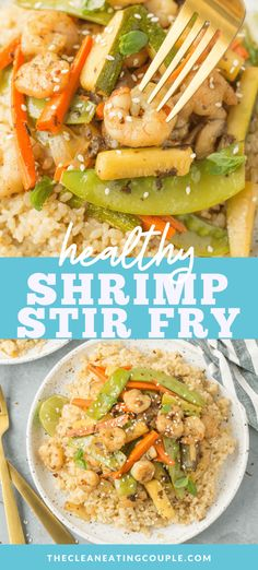 Healthy Shrimp Stir Fry is an easy, quick meal done in under 20 minutes. Use rice or keep it paleo, whole30 and keto with cauliflower rice! Gluten free, dairy free and so simple to make! Clean Eating Recipes, Lunch Recipes, Seafood Recipes, Wok Recipes, Dinner Recipes, Easy Whole 30 Recipes, Healthy Gluten Free Recipes, Whole30 Recipes, Shrimp Stir Fry Healthy