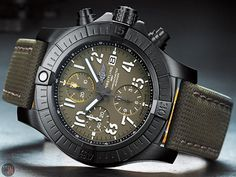 "The ""Breitling Avenger Chronograph 45 Night Mission"" (Ref: – Green Dial is powered by a self-winding in-house chronograph mechanical movement, caliber Breitling Max Bill, Breitling Watches, Watch Brands, Cool Watches, Michael Kors Watch, Omega Watch, Chronograph, Avengers, Night"