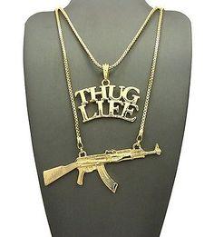 """Hip Hop Rapper's Thug Life & Gun Pendant 24"""",30"""" Box Chain 2 Necklace Set GN076G"""