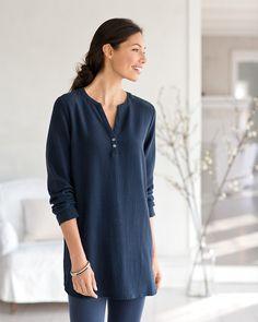 Pure Jill tencel-stretch textured tunic