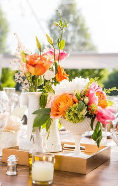 Mismatched Vintage Milk Glass Vase Centerpieces |  Mismatched Vintage Milk Glass Vase Centerpieces  FAVORITE      Fb2c404e 124c 11e4 843f 22000aa61a3e~rs 729 Centerpieces consisted of collected mismatched milk glass vases scattered on a lace runner with coral peonies, peach garden roses, ranunculus, craspedia and sprigs of other flowers.  FROM A WHIMSICAL, CHIC BARN WEDDING AT THE WINVIAN IN LITCHFIELD, CONNECTICUT