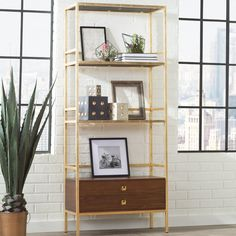 Top Brand Arrighetto 4 Tier Etagere Bookcase By Trent Austin Design Walnut Shelves, White Shelves, Wooden Shelves, Glass Shelves, Cube Bookcase, Etagere Bookcase, Bookcases, Office Furniture, Living Room Furniture