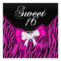 Pink Zebra Black Sweet Sixteen Sweet 16 Birthday Invitations