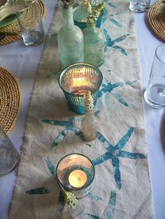 Stencil starfish on a burlap or linen table runner