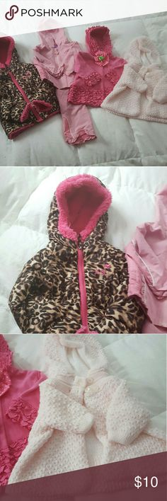 Baby Jackets Sweaters bundle 4 sets, great condition, leopard 18mths, pink jumpsuit 6-9 mth. Pink ruffled 0-6 mth, light pink sweater 3-6 mth ZeroXposur Jackets & Coats