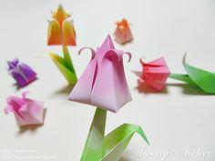 종이접기/다양한 무늬색종이로 튤립접기..두장으로 완성되는 입체 튤립~ : 네이버 블로그