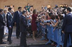 "Queen Letizia of Spain (R) attends the vocational training opening course at the ""Javier Garcia Tellez"" secondary School on October 1, 2015 in Caceres, Spain."