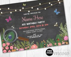 Girls Bug Invitations Insect Catcher Invite Birthday by wowwowmeow