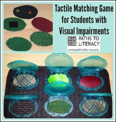 Matching game to promote tactile discrimination with students who are blind or visually impaired, including those who are deafblind or who have multiple disabilities Visually Impaired Activities, Tactile Activities, Elderly Activities, Sequencing Activities, Multiple Disabilities, Learning Disabilities, Sensory Rooms, Sensory Tubs, Environmental Print