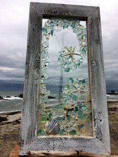 Beach glass panels with white starfish 12 X 24 Meist blau und klar strandglas mit weißen Sterne Fisc Sea Glass Crafts, Sea Glass Art, Stained Glass Art, Sea Glass Beach, Resin Crafts, Seashell Art, Seashell Crafts, Beach Crafts, Summer Crafts
