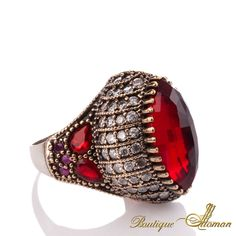 #unique Seyyare Ruby Silver Authentic Ottoman Ring  #jewelry #ottoman