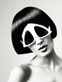 """Pyramid"" sunglasses made by Oliver Goldsmith Sunglasses for a 1960's Vidal Sassoon campaign."