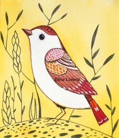 : nursery wall art, bird in nature yellow RED white, wall art - - Art And Illustration, Illustrations, Madhubani Art, Bird Drawings, Arte Floral, Fabric Painting, Bird Art, Rock Art, Painted Rocks