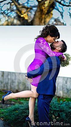 Couple Beauty Portrait Man in Suit Woman in violet Dress wedding pictures