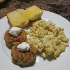 Salmon patties with lemon caper sauce, blue cheese and white cheddar Mac and Cheese and sweet bread.