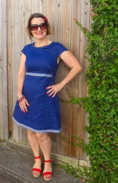Francoise Dress Pattern - Tilly and the Buttons. Blue linen, hand stitching and gingham trim.
