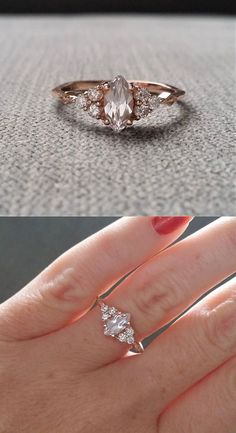 "Antique Engagement Ring Victorian White Sapphire Marquise Diamond Bohemian Antique Filigree Delicate 14K Rose Gold ""The Delphine"""