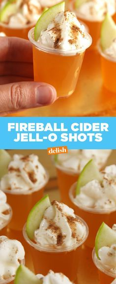 Cider Jell-O Shots Fireball Cider Jell-O Shots are going to be your favorite way to booze up this fall. Get the recipe at .Fireball Cider Jell-O Shots are going to be your favorite way to booze up this fall. Get the recipe at . Holiday Drinks, Fun Drinks, Yummy Drinks, Yummy Food, Beverages, Fall Drinks Alcohol, Shots Drinks, Mixed Drinks, Cocktail Shots