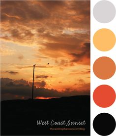 West Coast Sunset Color Palette - I like this, but would go a little brighter on the blue. thecarolinejohansson.com