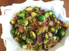 Gluten free, soy free, dairy free - Sauteed Brussels Sprouts with bacon and balsamic drizzle