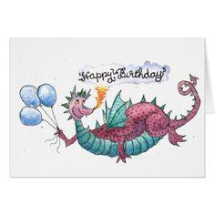 Tarjeta del dragón del feliz cumpleaños
