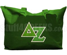 DELTA ZETA TOTE BAG WITH GREEK LETTERS, GREEN  Item Id: PRE-TOTE-DZ-BASIC-LTR-GRN    Price: $39.00