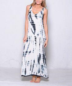 Black Tie-Dye Double-V Maxi Dress