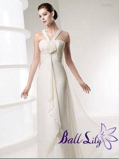 Glamourous Halter with Flower on the Bust Wedding Dress ESWD015  $265.00 (USD)   www.balllily.com offer Wedding Dresses, Bridesmaid Dresses, Evening Dresses, Prom Dresses, FlowerGirl Dresses and Mother Of The Bridal Dresses. www.balllily.com