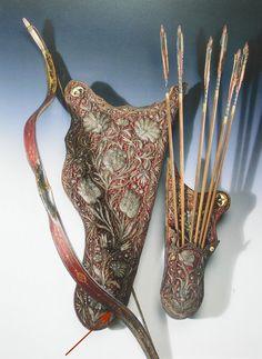 Turkish bow, quiver, arrows 17th century, Museum Nürnberg