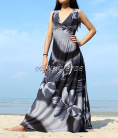 Plus Size Dress Maxi Dress Long Dress Gray Coast by myuniverse, $55.00