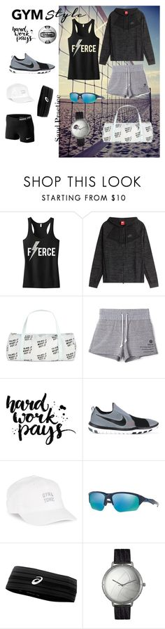 """Sand volleyball practice"" by kateprior ❤ liked on Polyvore featuring NIKE, ban.do, Stussy, Body Rags, Oakley, Ultimate, Asics and Whimsical Watches"